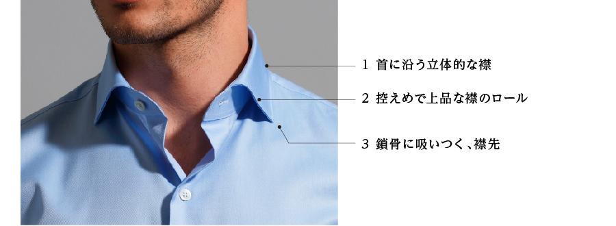 1 首に沿う立体的な襟 2 控えめで上品な襟のロール 3 鎖骨に吸いつく、襟先