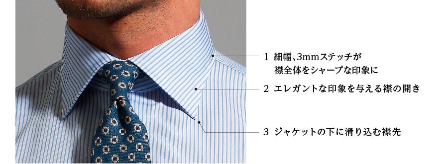 1 細幅、3mmステッチが襟全体をシャープな印象に 2 エレガントな印象を与える襟の開き 3 ジャケットの下に滑り込む襟先