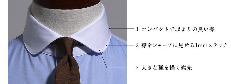 1 コンパクトで収まりの良い襟 2 襟をシャープに見せる1mmステッチ 3 大きな孤を描く襟先